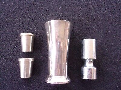 Jigger shot lot of 4, nesting vintage, made in Germany, metal pre owned.
