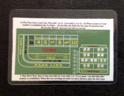 CRAPS BASIC STRATEGY CARD  (2 sided)  (LOT OF 10) by M. Mitch Freeland
