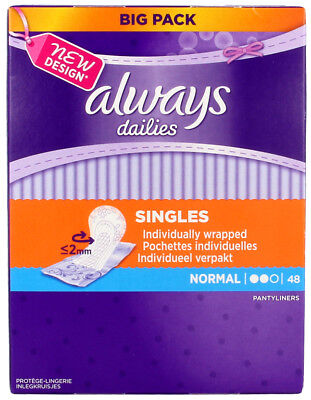 5x Always Dailies Pantyliners Singles Sanitary Pads 48 Normal Wrapped