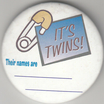 """It's Twins! Birth Announcement Button Pin, 2"""" x 2"""", New, Pin Back"""