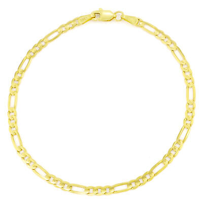 """REAL 10K Pure Yellow Gold 3.5mm Womens Classic Figaro Chain Link Bracelet 7in 7"""""""