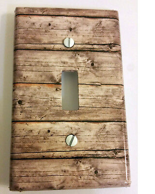 Light Switch Plate Cover Vintage Brown Wood 3489