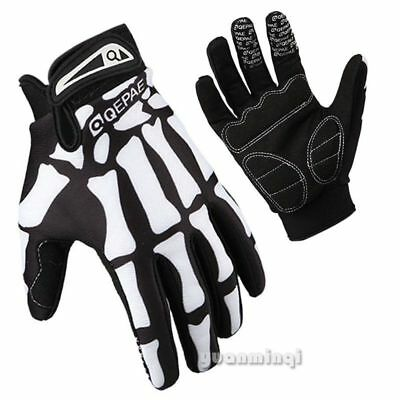 Mens Racing Cycling Mountain Bike Bone Skeleton Bicycle Sport Full Finger Gloves