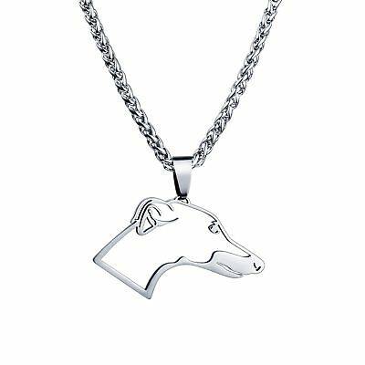 USA Free Shipping Stainless Steel Greyhound Whippets Dog Charm Pendant Necklace