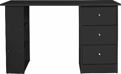 Malibu 3 Drawer Desk - Black.