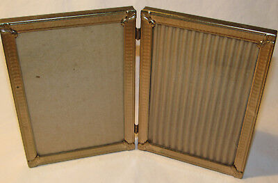 Vintage Gold 5X7 Hinged Double Fold Metal Ornate Photo Picture Frame