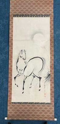 VINTAGE c.1930-40s CHINESE or JAPANESE ARTIST SIGNED INK SCROLL PAINTING - HORSE