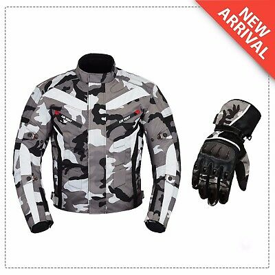 Gear Camo Motorcycle Motorbike Armour Textile Jacket CE Protector Biker Gloves