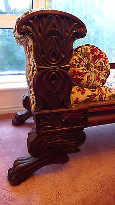 Magnificent Antique Victorian Carved Chaise Scroll Arm Tapestry Bolster Cushions