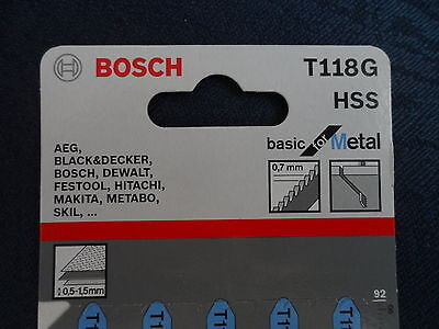 Bosch Jigsaw blade T118g HSS 30 blades 6 packs metal 0.5-1.5mm fit bayonet mount