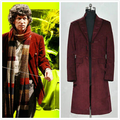 Doctor Who 4th Fourth Dr Tom Baker Cosplay Costumes Trench Coat Party