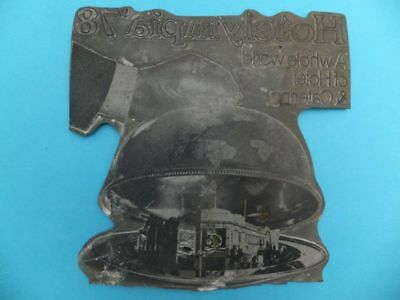 Vintage HOTEL Letterpress Ink Advertising Metal Printing Block Press Rare R2
