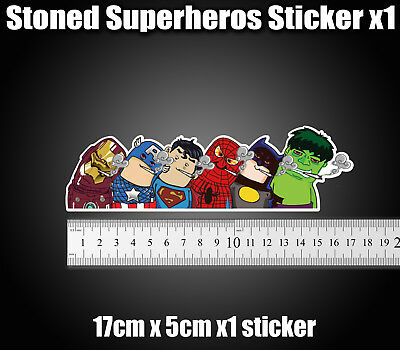 Stoned superheroes  Weed Sticker decal Laptop, car, van, funny Rude stonerheroes