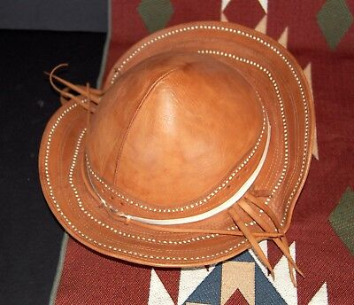 Antique Rare Child's Gaucho Leather Hat South American Traditional Hat