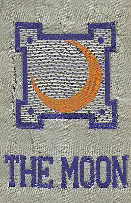 Vintage/antique early 1900s woven silk-use in crazy quilt- ZODIAC: THE MOON