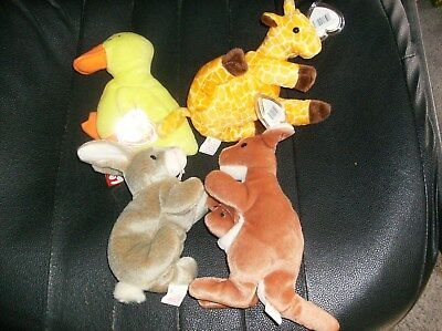 Ty Beanie Babies. Quakers, Nibbly, Twigs, Pouch