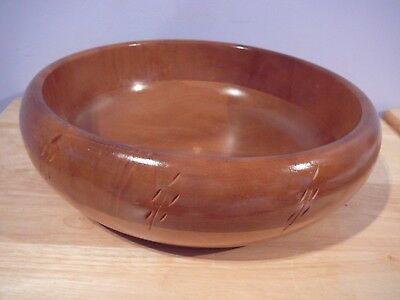"Vintage 12"" Teak & Maple Wood Salad Bowl Baribocraft Canada 60's 70's"