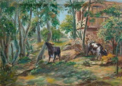 Antique/Vintage European Signed Oil Painting Cows Grazing in Woods 40.5 x 57.5cm