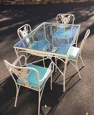 Vintage Aluminum & Glass Table and Chairs