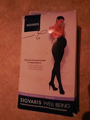 Misses Black Opaque Maternity Compression Tights Sigvaris B1 Medium $65