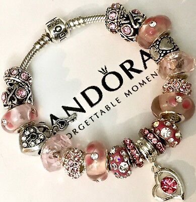 Authentic Pandora Silver Charm Bracelet With Pink Love White European Charms