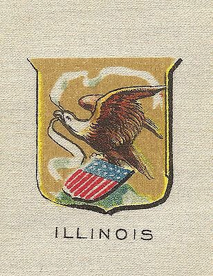 Vintage antique tobacco cigarette silk -use in CRAZY QUILT -ILLINOIS SEAL, EAGLE