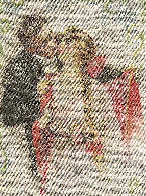 Vintage/antique promotional silk -use in crazy quilt- early 1900s HER FIRST KISS