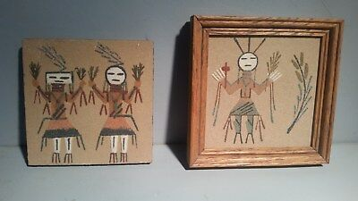 "2 Small Vtg Native American Authentic Navajo Sandpainting Signed 4"" yei bi chei"