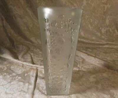 Vintage Heavy Solid Glass Frosted and Controlled Bubble Design