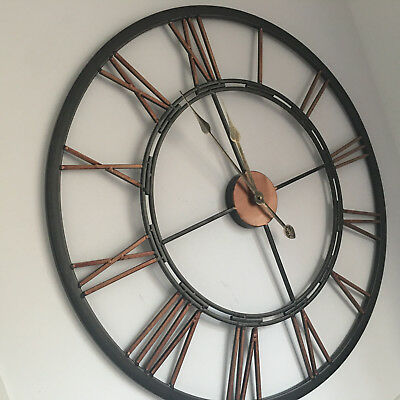 Large Open Face Metal Wall Clock Antique Industrial Style Iron Wall Clock 70Cm