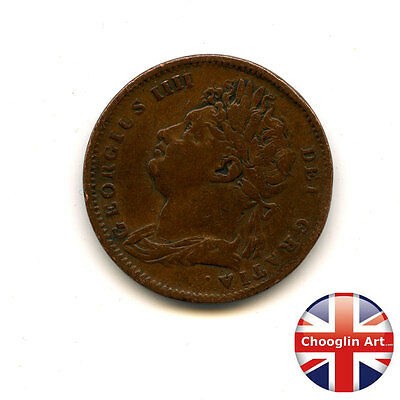 A British Copper 1825 GEORGE IV FARTHING Coin (First Issue)     Ref:1825_435/36)