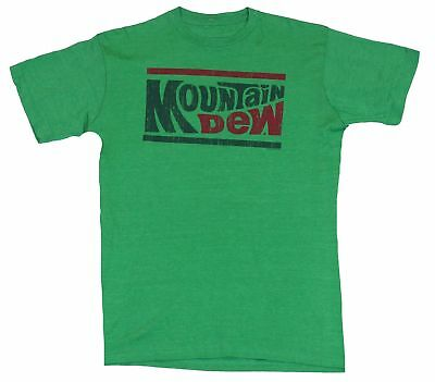 Mountain Dew Mens T-Shirt  - Red and Green Wording 70s Logo