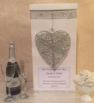 Personalised Wedding Card Post Box Sparkly Heart Diamantes Bling