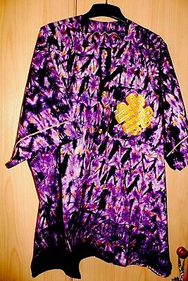 Unique West African Embroidered Top Tye & Dye~Purple