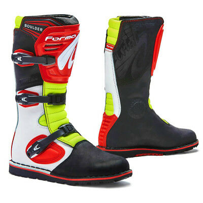 motorcycle boots | Forma Boulder trials white red dual sport red balance riding