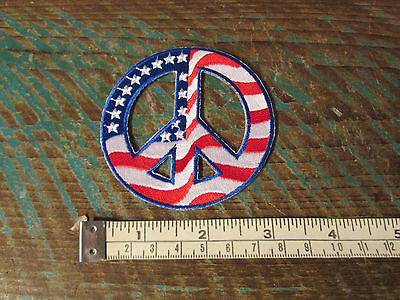 NEW ROUND HIPPIE FLAG PEACE SIGN RACING PATCH VW BUS BUG BEETLE NASCAR 60s USA