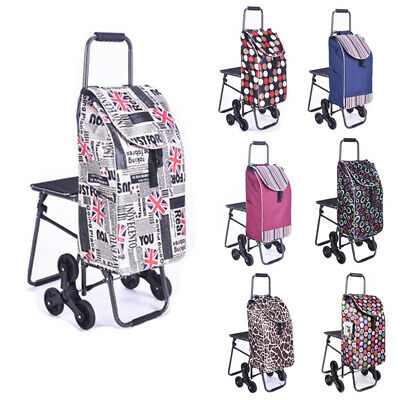 Wear Resistant Shopping Trolley Foldable Cart Laundry Grocery Wheels+Chair UDW