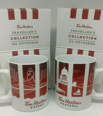 Tim Hortons Canada Travellers 2016 Cities Montreal & Quebec Province Coffee Mugs