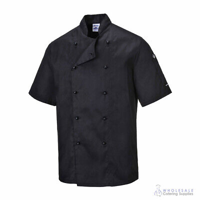 Chef Jacket Coat Short Sleeve Black Hospitality Uniform Cook Portwest 2XL