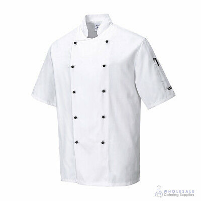 Chef Jacket Coat Short Sleeve White Hospitality Uniform Cook Portwest S