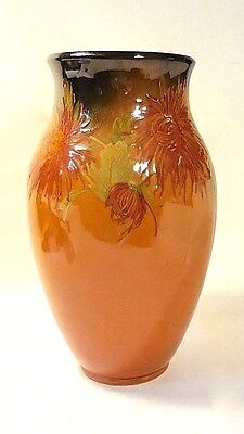 "ANTIQUE 1897 ROOKWOOD VASE ""MAD"" MATT A. DALY-MUMS/CHRYSANTHEMUMS-10-3/4"" x 6"""