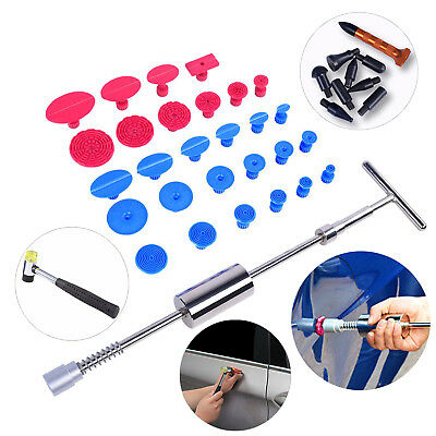 Dent Removal Paintless Car Body PDR Metal Slide Hammer Glue Tabs Tap Down Tools