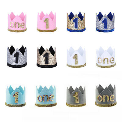 Baby Boy Girl First Sparkly Hat Crown Headband Tiara Party Birthday Photo Props
