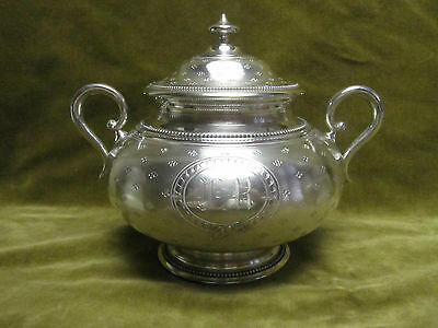 early 20th c large french guilloche sterling silver sugar bowl Debain 556gr