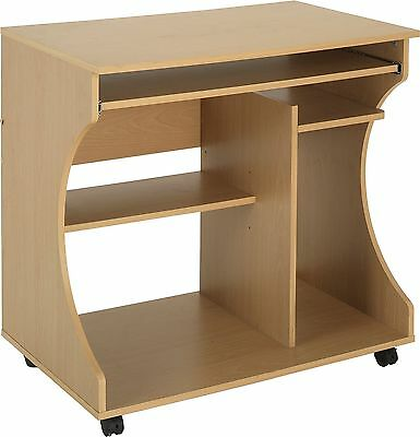 Curved Computer Desk Trolley - Beech Effect.