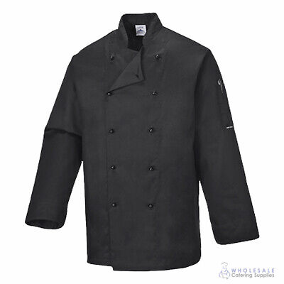 Chef Jacket Coat Long Sleeve Black Hospitality Uniform Cook Kitchen Portwest XS