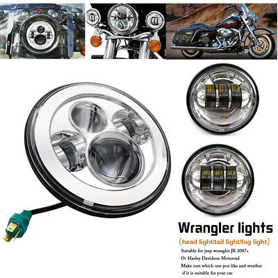 7inch Round Chrome LED Headlight & 4.5'' Auxiliary Passing Foglight for Harley