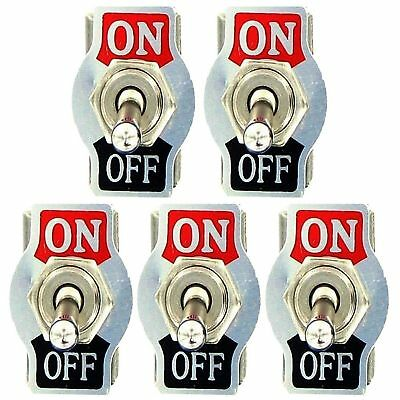 5 X SPST 2Pin Heavy Duty 10A 125V ON/OFF Rocker Toggle Switch Waterproof Boot US