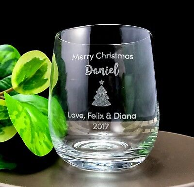 Christmas Gift - Personalised Engraved Crystal Stemless Wine Glass