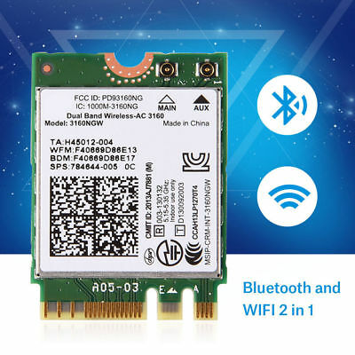 802.11AC NGFF M2 WiFi + Bluetooth Wireless Adapter Card Dual-Band For Intel 3160